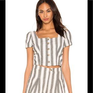 Revolve XS heartloom striped puff sleeve crop top